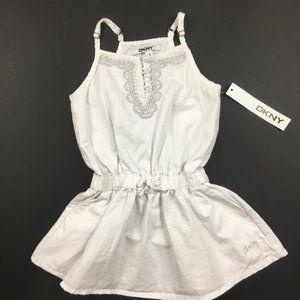 DKNY White Denim Sun Dress Silver Embroidery